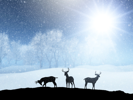 3D render of a winter snow landscape with silhouettes of deer Zdjęcie Seryjne