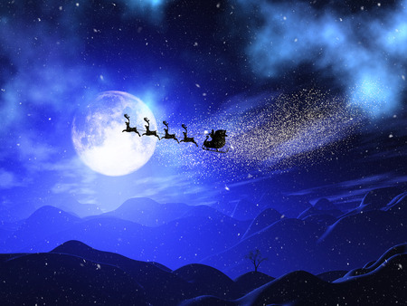 3D render of a Christmas moonlit landscape with santa and reindeers in the sky