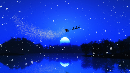 3D render of a tree landscape against a night sky with santa and his reindeers 免版税图像