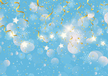 Christmas background with gold streamers, confetti and snowflakes