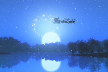 3D render of santa flying through the sky against a sunset landscape