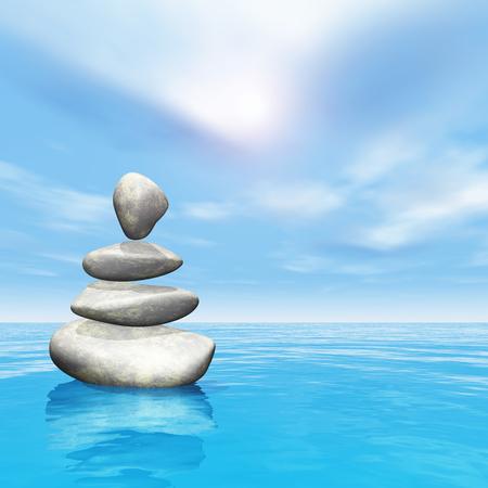 3D render of balancing pebbles in ocean