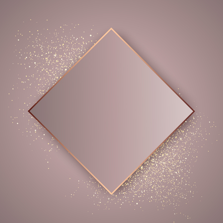 Elegant rose gold background on gold glitter