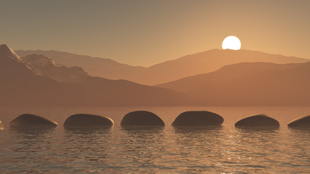 3D render of stepping stones in the ocean against a sunset mountain landscape