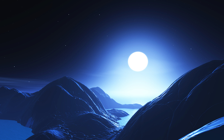 3D render of an abstract moonlit landscape Reklamní fotografie