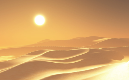 3D render of a hazy hot desert scene