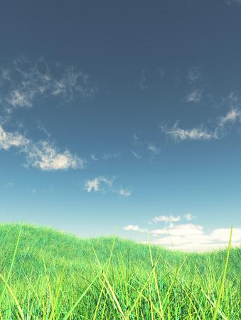 3D render of a grassy landscape with blue sky Stock fotó