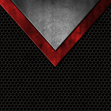 Grunge style metals on a perforated texture background