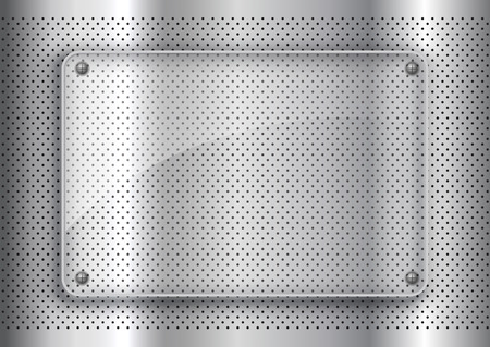 Glass plate on a perforated metal background background