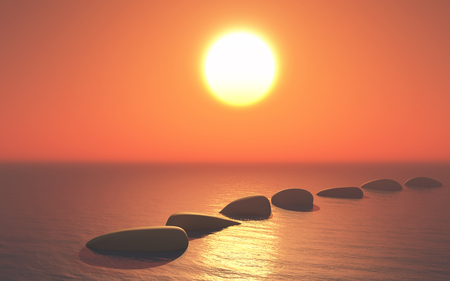 3D render of stepping stones in ocean against a sunset sky