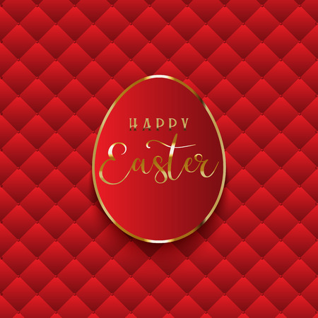Luxurious Easter egg background with quilted red texture Stock Photo