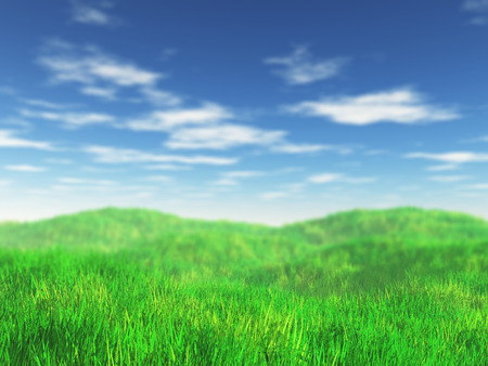 3D render of a grassy landscape with focus on the front Stok Fotoğraf