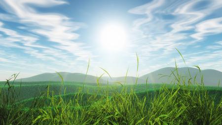 3D render of a grassy landscape against a blue sunny sky