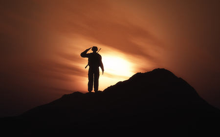 3D render of a silhouette of a soldier saluting against a sunset sky Stock fotó - 121105692