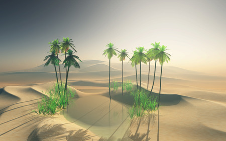 3D render of a desert oasis landscape with palm trees