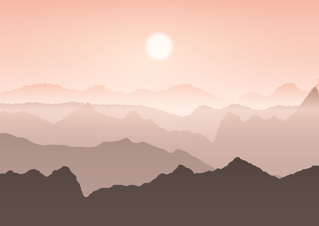 Mountain landscape against a sunset sky 写真素材