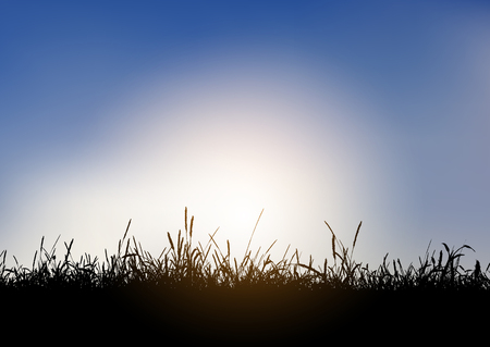 Silhouette of a grassy landscape against a blue sunset sky