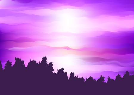 Silhouette of a tree landscape against an abstract purple sunset sky 写真素材