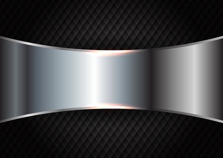 Brushed metal design on a dark texture background Banco de Imagens