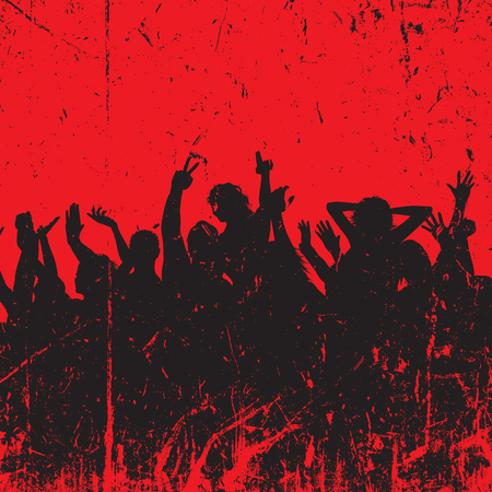 Silhouette of a party crowd with a grunge style design