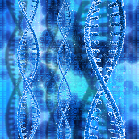 3D render of DNA strands on a binary code background