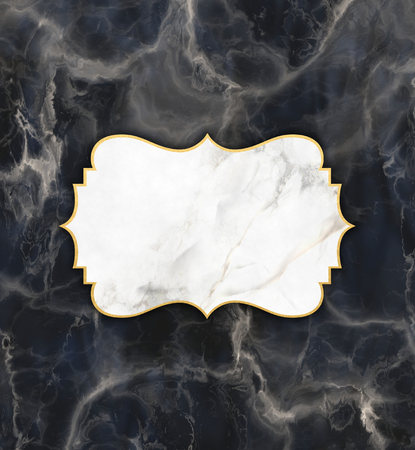 Gold and marble frame on a dark marble texture background Stock Photo
