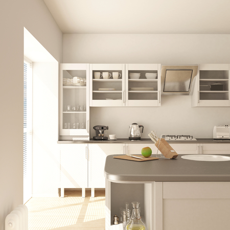 3D render of a contemporary kitchen interior Banco de Imagens