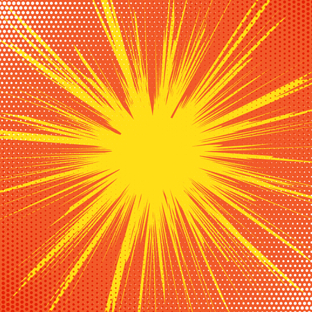 Retro comic book background with starburst design