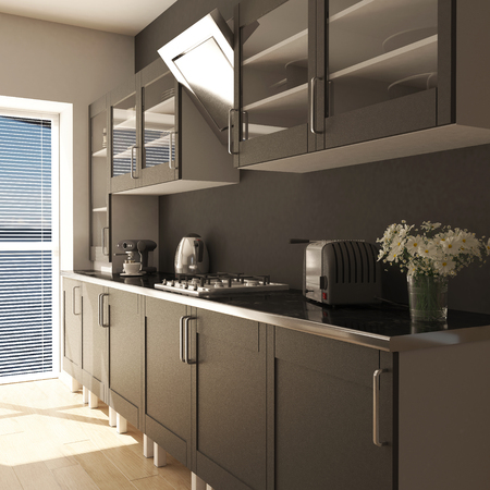 3D render of a contemporary kitchen interior 写真素材