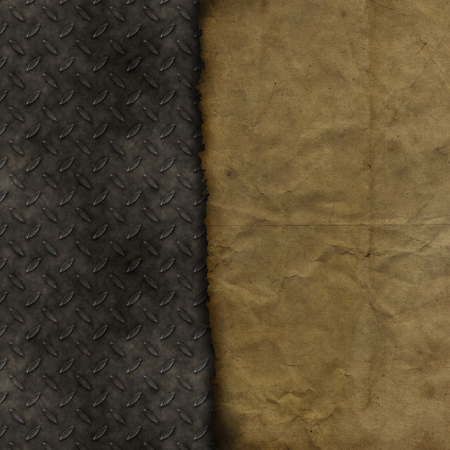 Grunge paper on a metallic texture background Imagens
