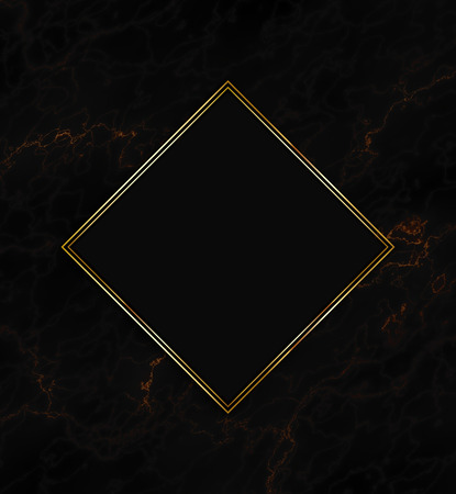 Gold and black frame on a marble texture background Stock Photo
