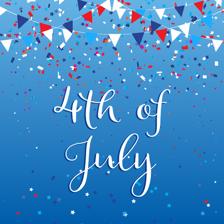 4th July Independence Day background with flags and confetti