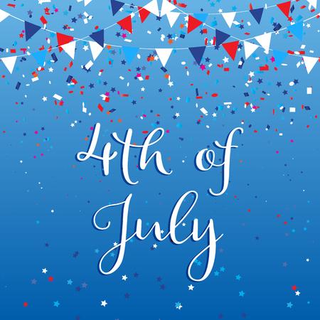 Fondo del día de la independencia del 4 de julio con banderas y confeti