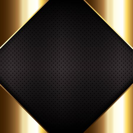 Gold metal on a perforated metallic texture