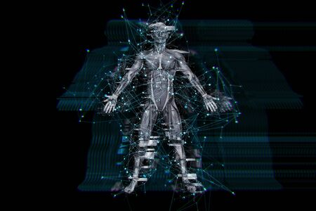 3D render of a digital technology background with glitch effect on male medical figure