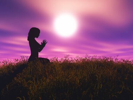 3D render of a female in yoga pose against sunset landscape