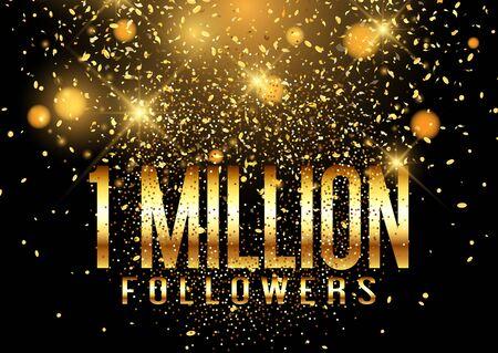 One Million followers confetti celebration background design 写真素材