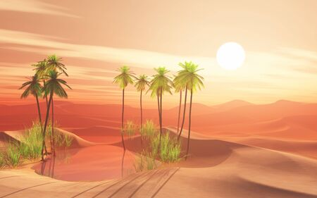 3D render of a desert scene with palm tree oasis 写真素材