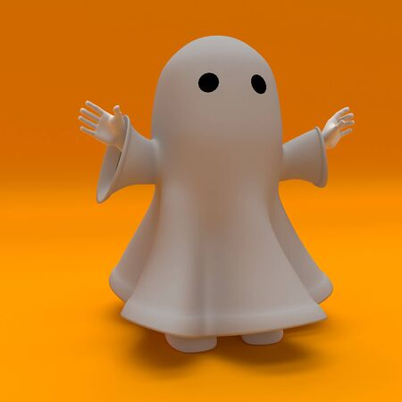 3d render of a man in halloween ghost costume Banque d'images