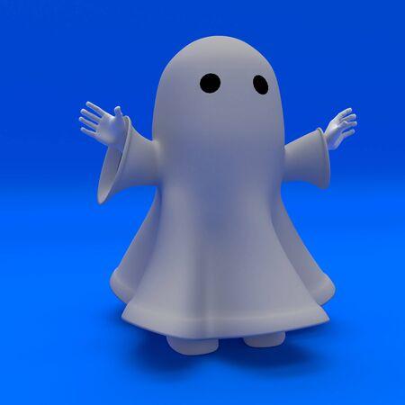 Rendu 3D d'un homme en costume de fantôme d'halloween Banque d'images