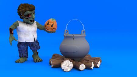 3D Render of a Cartoon Zombie Character Фото со стока