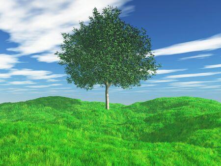3D render of a tree in grassy landscape Stock fotó