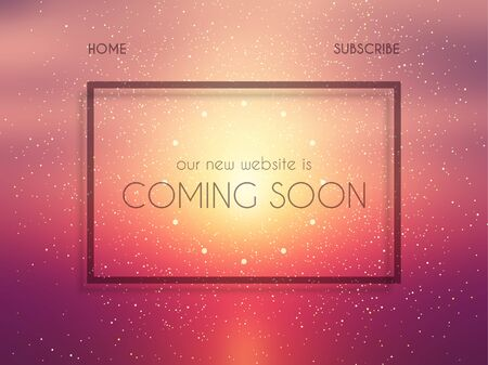 Abstract website landing page design with coming soon text Stock Photo