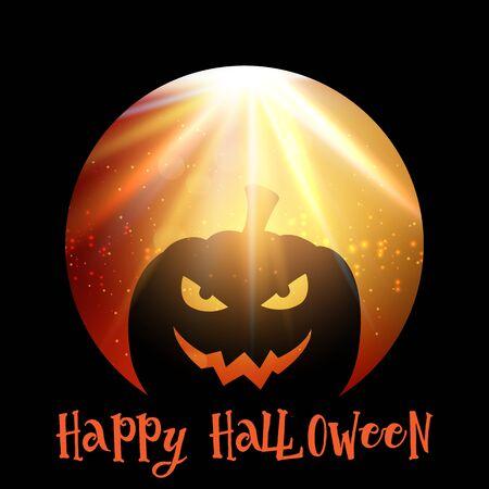 Halloween background with pumpkin on starburst background