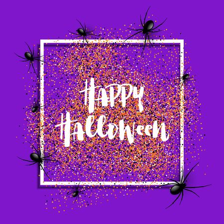 Halloween background with spiders on a white frame