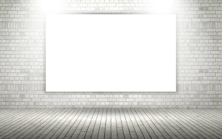 3D render of an exposed brick wall with blank canvas