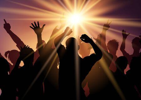 Silhouette of a party crowd on a sunburst background Reklamní fotografie