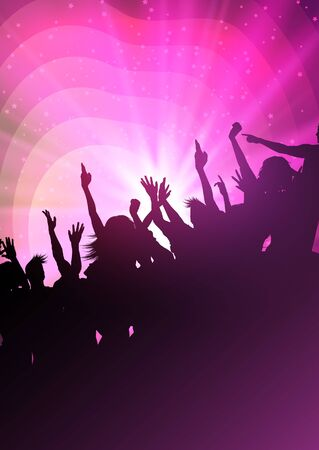 Abstract background with silhouette of a party crowd