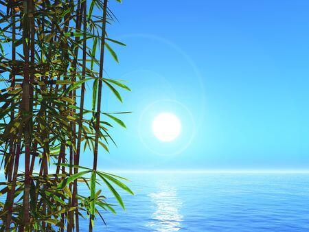 3D render of bamboo against an ocean landscape 写真素材