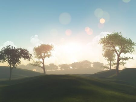 3D render of a tree landscape and grassy hills